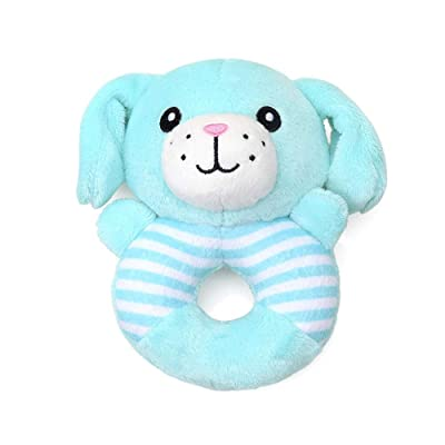 Premium Baby Rattle Extra Soft Plush Teether Toy Dog Style BPA Free Safe for Teething, Develops and Improves Baby's Hand Eye Coordination Blue : Baby