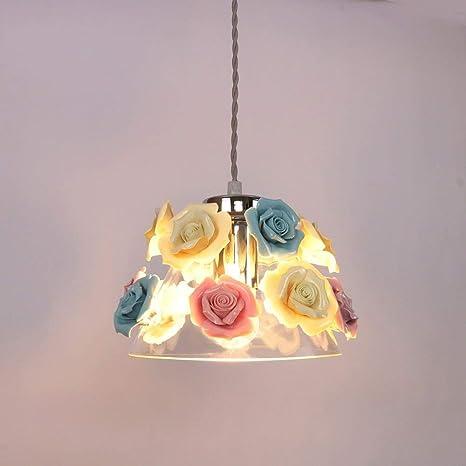 Wapipey Cerámica Creativa Rosa Colgante Luz Nordic Moderno ...