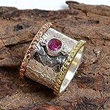 Anillo texturizado, anillo para las madres, anillo para mujer y anillo para hombre, anillo con rubí giratorio, anillo con banda giratoria, anillo hecho a mano, anillo de meditación, anillo de ansiedad, anillo de Bohemia, regalo de cumpleaños, anillo de mujer