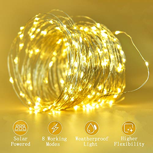 Ohala Solar String Lights, 72ft 200LED Outdoor Fairy String Lights 8 Modes Waterproof, Starry Solar Powered String Light Indoor or Outdoor for Christmas, Patio, Party, Wedding Decorative (Warm White)