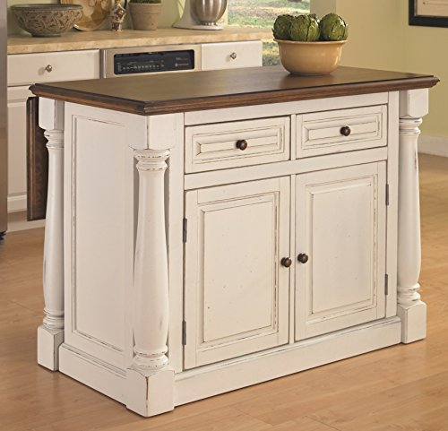 Home Styles Monarch Kitchen Island, Antique White Finish - Antique Kitchen Islands