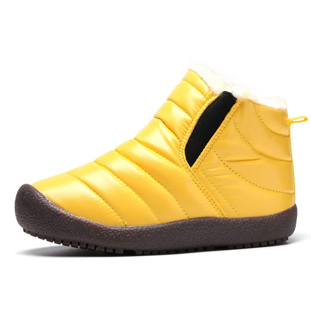 VAMV Kids Snow Boots for Boys Girls Waterproof Winter Warm Shoes Lightweight (11.5 M US Little Kid, Yellow)