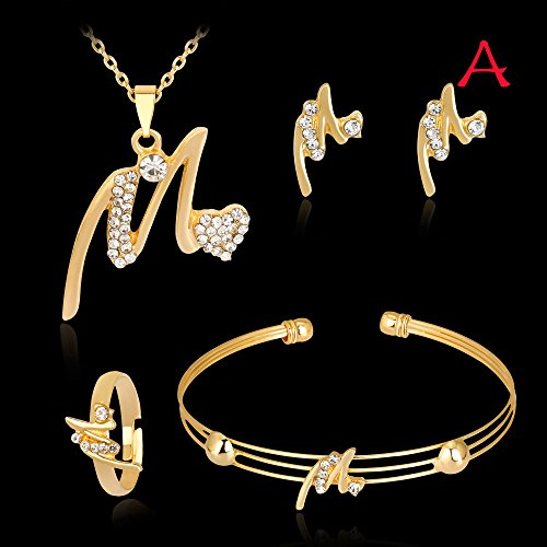 Wedding Necklace Bracelet Rings Earrings Jewelry Set Lady Women Rhinestone Ear Studs Bangles (A)