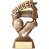 Customizable 7 Inch Antique Gold Finish Resin Soccer Banner Trophy, Includes Personalization