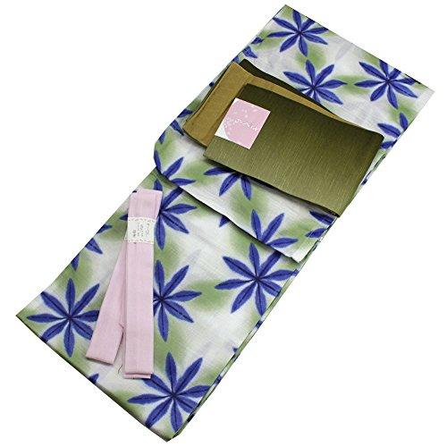 Womens Cotton Yukata 3items set Japanese Summer Kimono Snowflakes M size by Kimono Japan