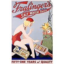 "Canvas on Demand Wall Peel Wall Art Print entitled Fralingers Original Salt Water Taffy, Vintage Poster 40""x60"""