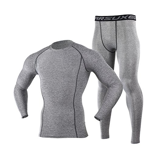 Men's Grey Tight Elastic Dry Compression Base Layer Long Sleeve Shirt and Pant Set