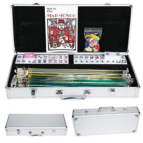 Yaheetech American Mahjong Set Mah Jongg Sets Aluminum Case 166 Tiles 4 Pushers/Racks -