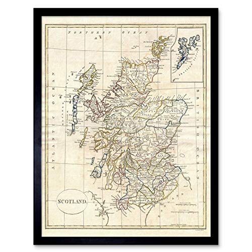 (Wee Blue Coo 1799 Clement Cruttwell Map Scotland Vintage Art Print Framed Poster Wall Decor 12x16 inch)