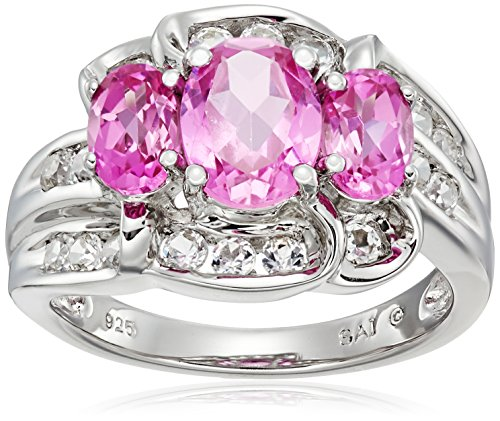 Sterling-Silver-Created-Pink-Sapphire-and-Created-White-Sapphire-3-Stone-Ring-Size-7