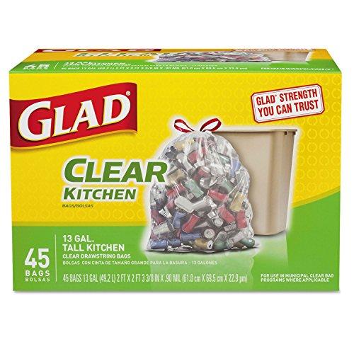 Glad Recycling Tall Kitchen Trash Bags, Clear, Drawstring, 1