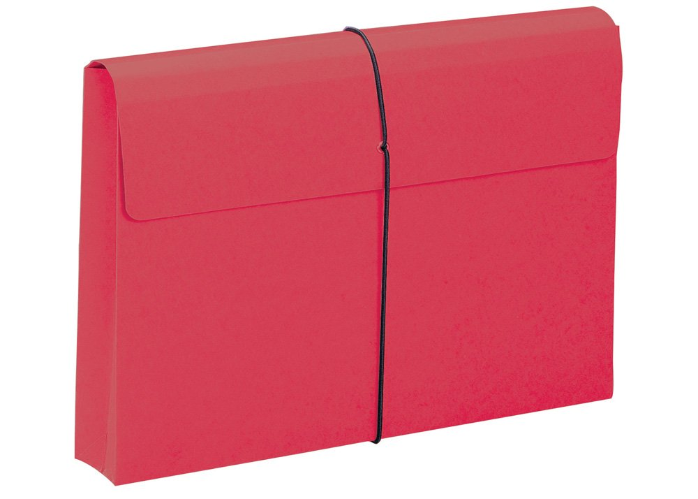 Smead Expanding File Wallet, 2'' Expansion, Protective Flap and Cord Closure, Legal Size, Red, 10 per Box (77210)
