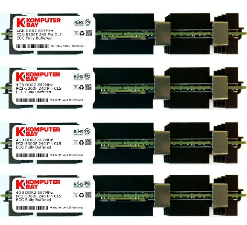 Komputerbay 16GB (4X 4GB) DDR2 PC2-5300F 667MHz CL5 ECC Fully Buffered FB-DIMM (240 PIN) 16 GB w/Heatspreaders for Apple Computers