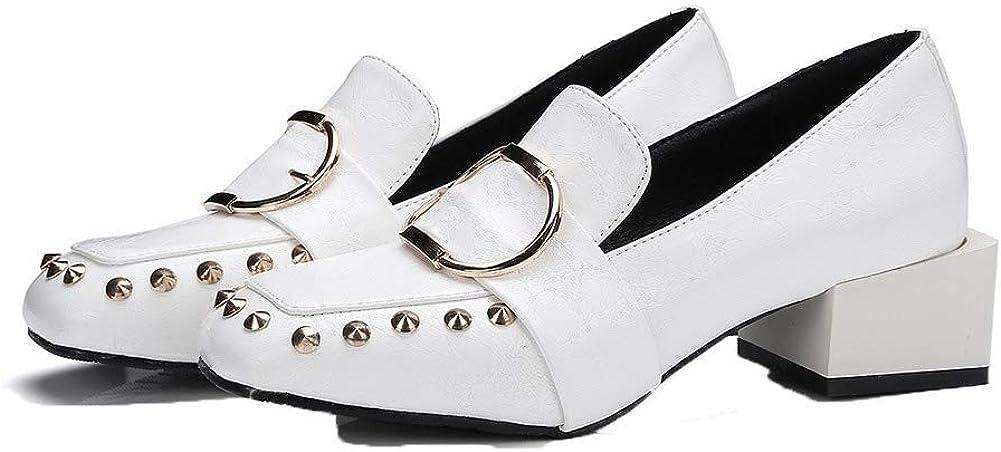 AgooLar Femme à Talon Bas Couleur Unie PU Cuir Chaussures Légeres, GMBDB011061 Blanc