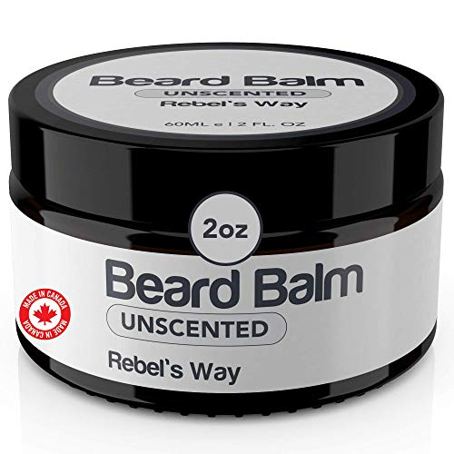 Beard Balm Made in Canada (2oz - 60ml) Unscented Fragrance-Free 100% Natural Beard and Mustache Wax Blend for Smoother and Softer Beard All Day. Best Organic Beard Care Grooming Formula for Men