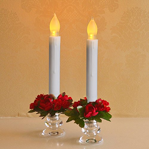 Cozeyat-6pcs-Battery-Operated-Soft-Amber-Yellow-Flameless-Taper-Candles-with-Remote-Timer-Flickering-LED-Taper-Candles-for-Candelabra-Sconces-Chandelier-Menorah-battery-not-included