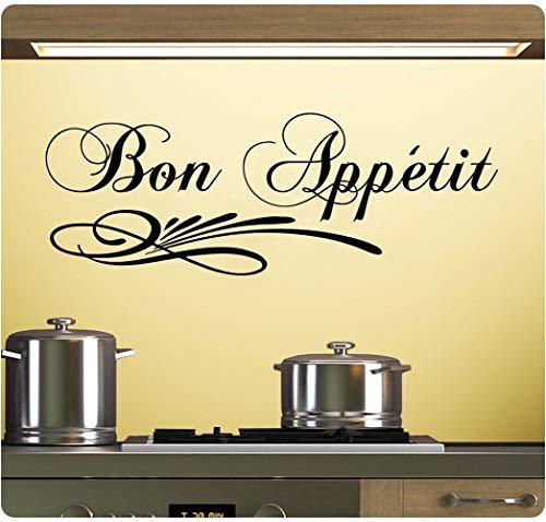 (Tisloa Decal Art Saying Lettering Sticker Wall Decoration Art Bon Appetit French France Kitchen Dinner Enjoy Meal Sticker)