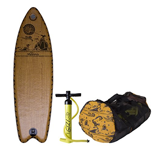 C4 Waterman Disney Moana Inflatable Surfboard Set, Woodgrain Brown, One Size by C4 Waterman