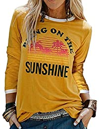 NANYUAYA Womens Bring On The Sunshine Printed T-Shirt Causal Christian Graphic Tees