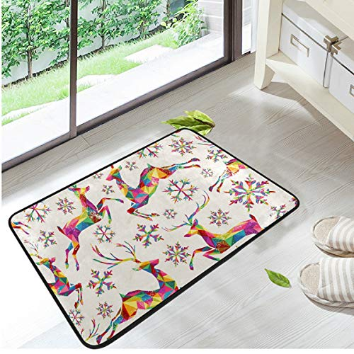 (WIHVE Door Mat Retro Colorful Triangles Reindeer Snowflakes Home Decor Floor Mats Non Slip Entrance Area Rug Living Room Bedroom Carpet Rugs 23.6 X 15.7 Inches)