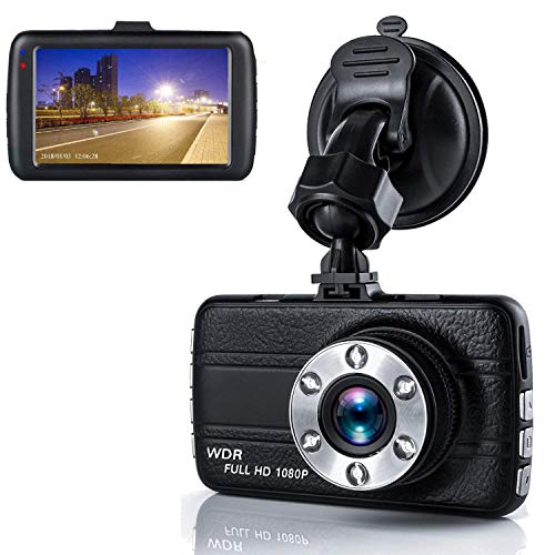 Dash Cam,Dashboard Camera, Frehoy Full HD 1080, 3.0″ Screen DVR Car Dashboard Camera Recorder with 170° Wide Angle, Night Vision, G-Sensor, WDR, Loop Recording, Motion Detection, (Black