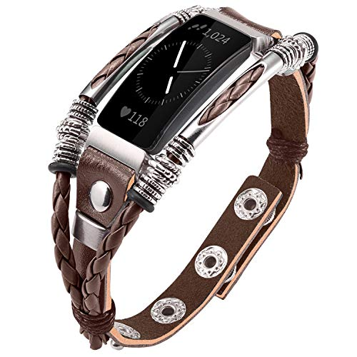 Fashion Leather Wristband - Marval.P Compatible for Fitbit Inspire Bands, Handmade Leather Inspire HR Band, Replacement Unique Bracelet, Wristbands Adjustable Size, Fashion Wrist Band Straps Women Men Lover (Classic Brown)