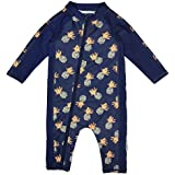 SwimZip Little Boy Long Sleeve Sunsuit with UPF 50 Sun Protection Pineapple Blue 12-18 Month