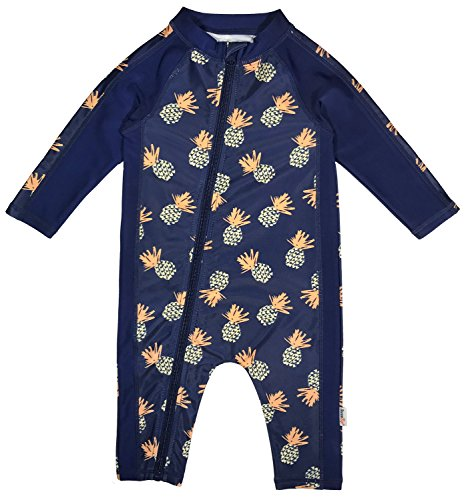 SwimZip Little Boy Long Sleeve Sunsuit with UPF 50 Sun Protection Pineapple Blue 12-18 (Infant Sunsuit)