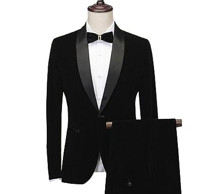 AK Beauty Men\'s Black Velvet Suit 2 Pc Slim Fit Mens Suits Groom ...