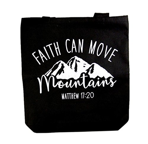 Faith Can Move Mountains, Matthew 17:20, Recycled Nylon Tote Bag, 14 1/2 Inch ()