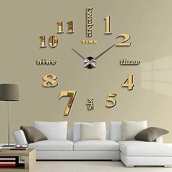 HUIFANG Reloj De Pared Moderno Mute DIY Reloj De Pared Grande Etiqueta 3D Decoración De La Oficina En Casa Regalo Negro Oro: Amazon.es: Hogar
