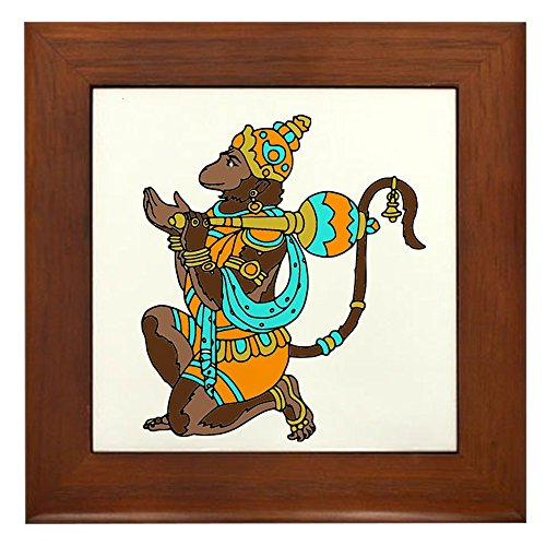 - CafePress - Kneeling Hanuman - Framed Tile, Decorative Tile Wall Hanging