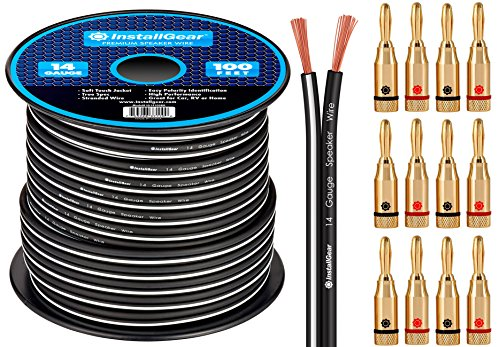 InstallGear 14 Gauge AWG 100ft Speaker Wire Cable - Black with 12 Banana Plugs