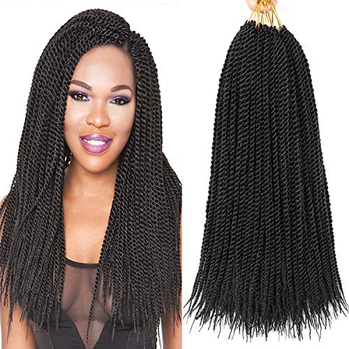 8 Packs 18 Inch Senegalese Twist Crochet Hair Synthetic Braiding Hair Extension Short Small Havana Mambo Twist Crochet Braids 20strands/pack (18 Inch, 1B)