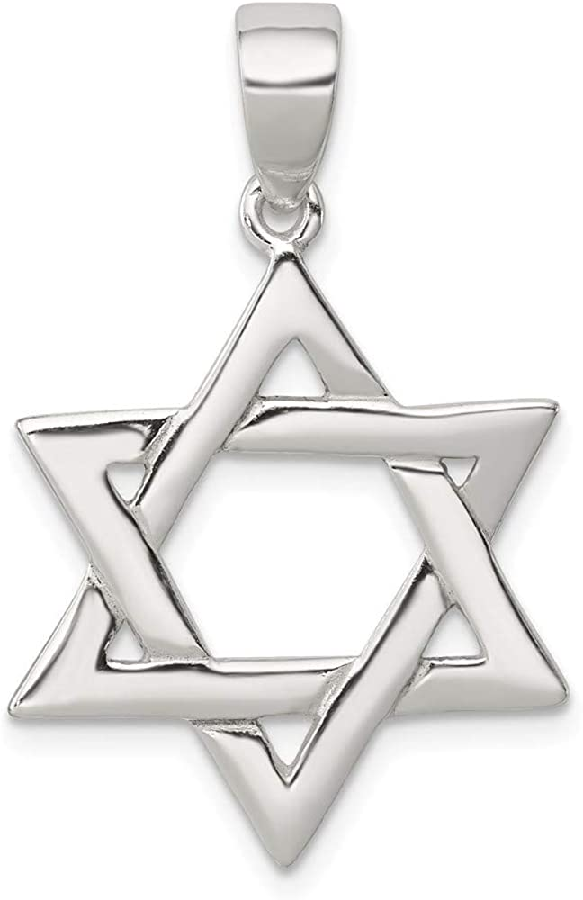 FB Jewels Solid 925 Sterling Silver Polished Star Of David Pendant