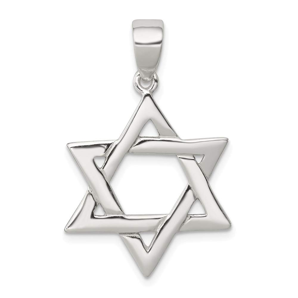Mia Diamonds 925 Sterling Silver Solid Polished Star Of David Pendant 34mm x 21mm