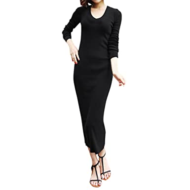 Cekaso Womens Jersey Dress Slim Fit Long Sleeve Ribbed Stretchy