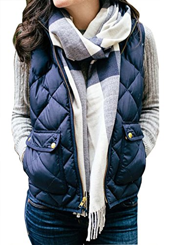 Yi Xian Women's Stand Collar Warm Padded Zip Closure Side Pockets Gilet Quilted Puffer Vest (US 6 (M), Royal Blue) Collar Slim Zipper Closure