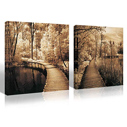 Mon Art 16x16 inch Scenery Beautiful Greenway Highway Brown Trees Wooden Bridge Portray Modern Canvas Art Wall Decor Paintings Abstract Paintings Stretched and Framed