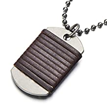Retro Style Dog Tag Pendant Necklace for Men Boys with Brown Leather and 26 Inches Ball Chain