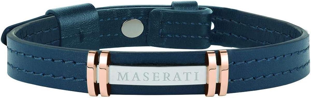Pulsera para hombre, Colección Maserati Jewels, en acero, pvd oro rosa y cuero natural, ajustable con cierre de clip - JM418ANL07