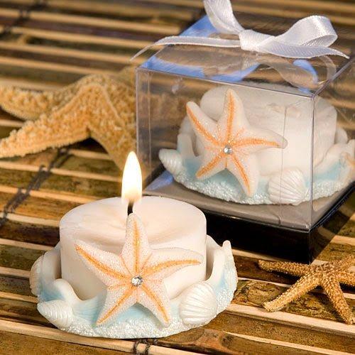 30 Starfish Design Favor Saver Candle Favors
