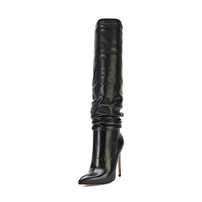 b7c630e064f FSJ Women Versatile Stretchy Knee High Boots Stiletto High Heels Pull On  Slouchy Shoes Size 4