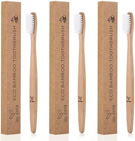 lay.dana - Zahnbürste aus Bambus-Holz - Plastikfrei und vegan - umweltfreundliche Verpackung (3er Set)