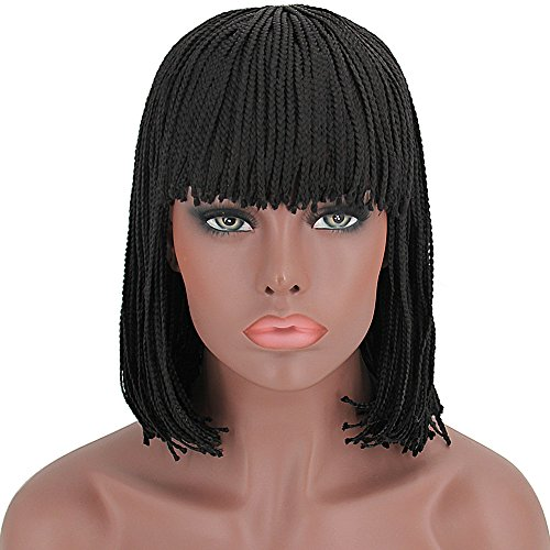 Beauty : ELIM Braided Wigs for Black Women Short Black Bob Wigs with Bangs Synthetic Hair Costume Wig with Wig Cap (12 inch) Z111