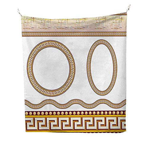 Greek Keyocean tapestryAncient Fret Pattern in Oval and Circle Shapes Wavy Straight Borders 54W x 72L inch Large tapestryMarigold Plum White ()