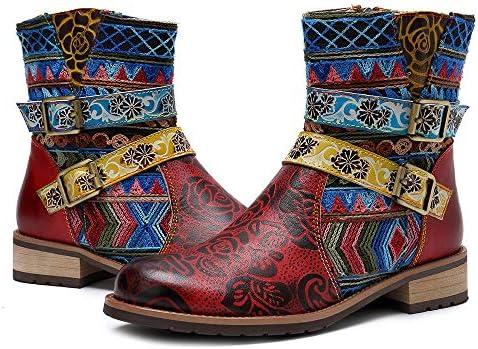 Yoogajxy Botines de Mujer Zapatos Coloridos de Cuero Botines ...