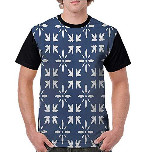 Short Sleeve Blouse,Indigo,Modern Design Floral Image Leaves Rose Petals Inspired Design Art Print,Navy Blue and White S-XXL Men O Neck Casual T Shirt