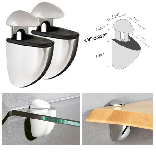 Dolle Jam Polished Chrome Adjustable Glass or Wood Shelf Bracket - Pair - Polished Chrome Wood
