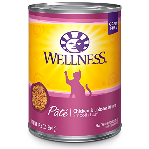 Wellness Natural Grain Free Wet Canned Cat Food, Chicken & Lobster Pate, 12.5-Ounce Can (Pack Of 12)